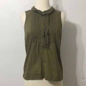 J. Crew Olive Green Tank with Eyelet Lace Collar